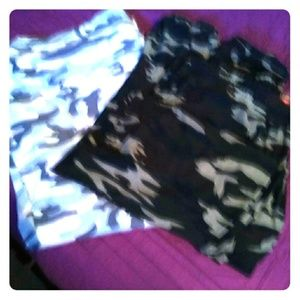 Pants - Two for one pink & green army fatigue pants